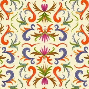 colorful damask on warm off white