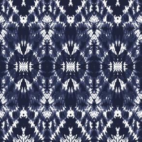Tie dye indigo blue ovals diamonds large Wallpaper Fabric