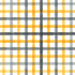 Watercolor Plaid - Grey/Yellow