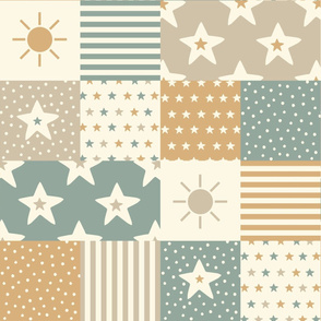 Patchwork - stars, stripes, sun