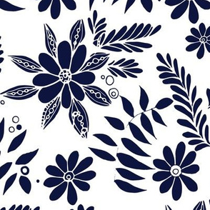 Lively Florals Navy and White