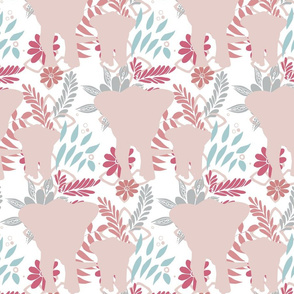 Elephant Silhouette Pale Pink