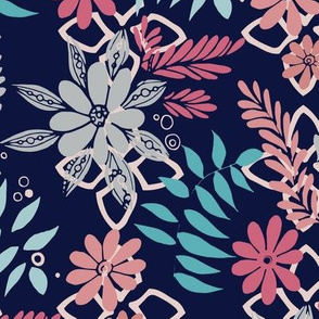 Lively Florals Navy