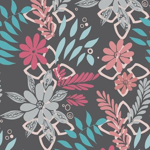 Lively Florals Gray