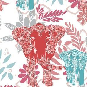 Decorated Elephant on White