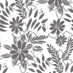 Lively Florals Gray and White