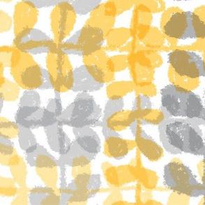 Fine Vine Plaid - Yellow/Grey