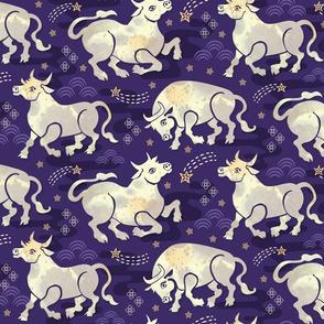 Celestial Oxen in Night Sky