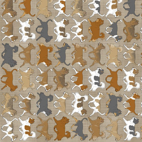 Trotting faux linen Chihuahua border - vertical