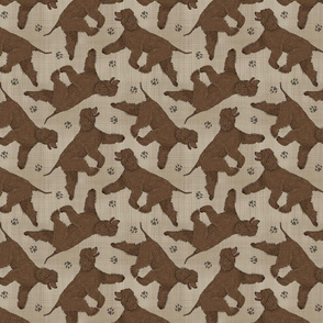 Trotting Irish Water Spaniels and paw prints - faux linen