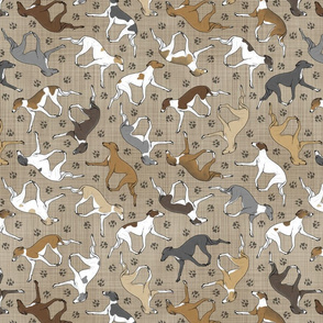 Trotting Italian Greyhounds and paw prints - faux linen
