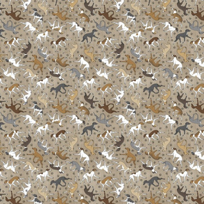 Tiny Trotting Italian Greyhounds and paw prints - faux linen