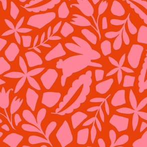 Folk Art Bunnies - pink and orange