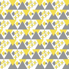 Grey Yellow Stars Triangles