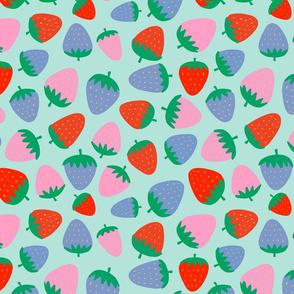 strawberries on blue - half size