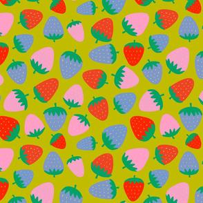 strawberries on green - half size