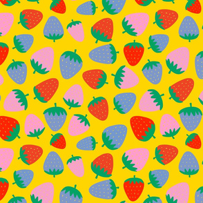 strawberries on yellow - half size