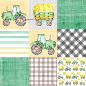 Farm Tractor Watercolor Whole Cloth Cheater