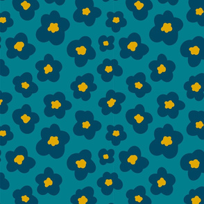 Teal Blue and Gold Floral - half size