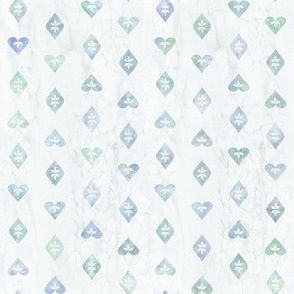 Watercolor Hearts and Leaves on Pale Blue