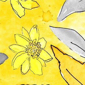 Daisy Blossoms Yellow and Gray - Large Scale