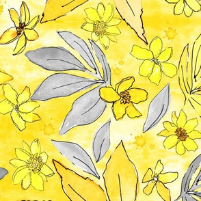 Daisy Blossoms Yellow and Gray - Medium Scale