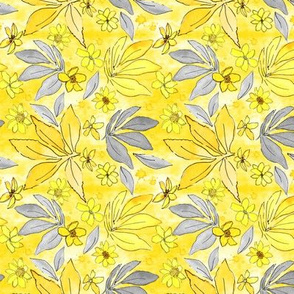 Daisy Blossoms Yellow and Gray - Small Scale