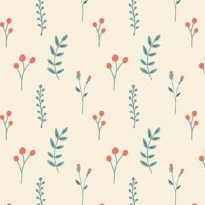 small red flowers | off white | quilt