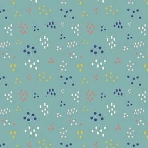 small colored dots | teal | quilt