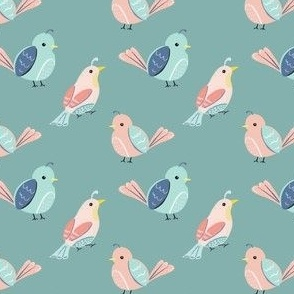 small birds | teal | quilt