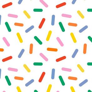 rainbow sprinkles on white