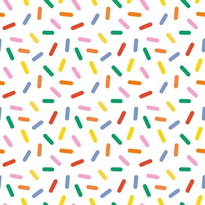 rainbow sprinkles on white - half size