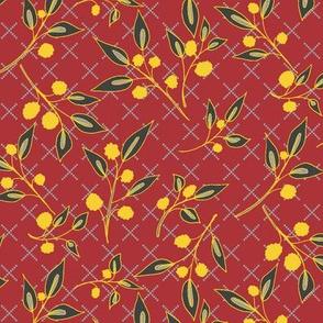 Autumn Brazenberry Clusters on Autumn Red Lattice (#7)