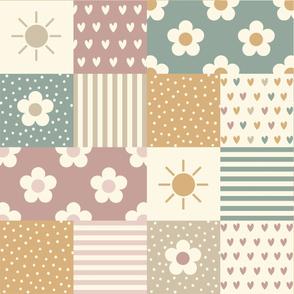 Patchwork daisies, hearts & sun