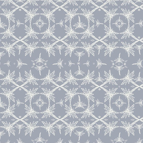 Dragonfly with Flowers Pattern Gray and white