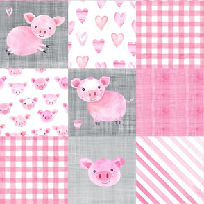 Watercolor Pig Farm Animal Cheater Wholecloth