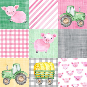 Pig Farmer Green Pink Tractor Cheater