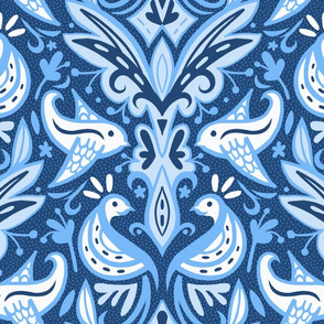 Cornflower Blue Bird Damask