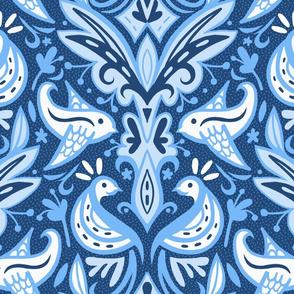 Blue Bird Damask
