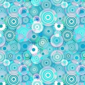 Kooky Kaleidoscope cyan and purples (s)