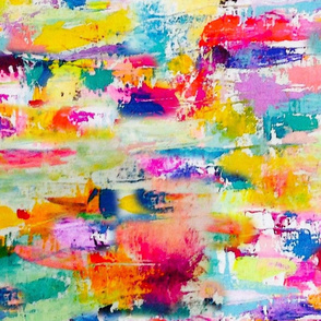 Rainbow Painted Abstract, Rotated ((LARGE scale))