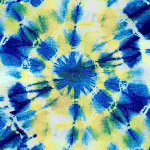 Tie Dye Ink Splat Blue and Yellow