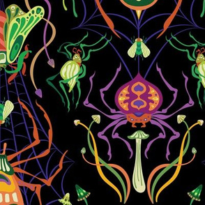 Tangled Web Damask in Halloween Colors