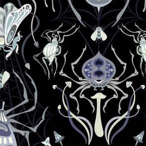 Tangled Web Damask in Ghostly Tones