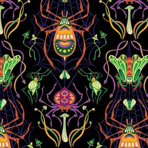 Tangled Web Damask in Halloween Colors {small}