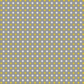 Yellow, white and gray polkadot coordinate for yellow, gray or white