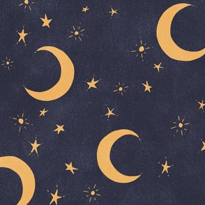 Goodnight Sky - navy and gold