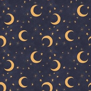 Goodnight Sky - navy and gold - small scale