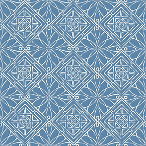 Hawaiian Quilt Blue and White Large Scale