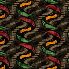 ★ SPRINGING UP ★ Rasta Colors + Brown - Medium Scale / Collection African Batik - Wax Inspired Prints